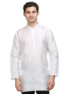 White Silk Short Kurta