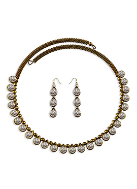 White Stone Ornate Choker Necklace Set