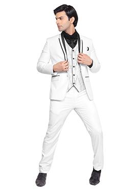 White Viscose Lapel Style Suit