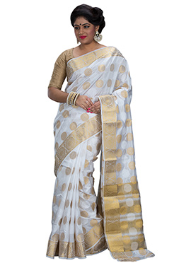 White Zari Weave Designed Art Silk Saree