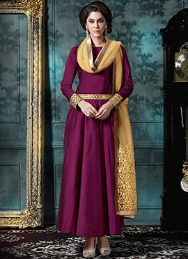 Wine Anarkali Suit