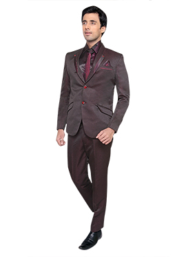 wine and Brown Shawel Lapel Style Suit