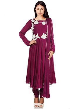 Wine Chanderi Anarkali Suit