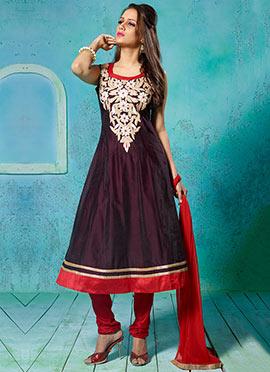 Wine Chanderi Silk Anarkali Suit