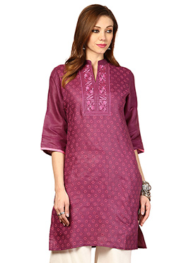 Wine Cotton Ethnic Kurti from Home India
