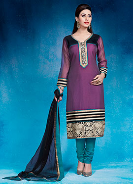 Wine Embroidered Churidar Suit
