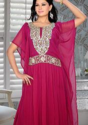 Red Georgette Plus Size Kaftan Dress