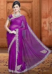 Purple Pure Chiffon Saree