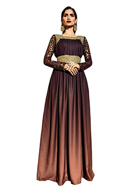 Wine Sequins Viscose Anarkali Suit