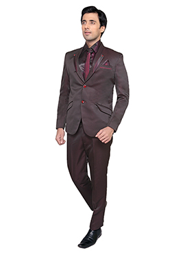 Wine Viscose Lapel Style Suit