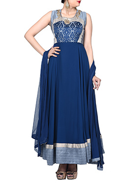 Yale Blue N Grey Ankle Length Anarkali Suit