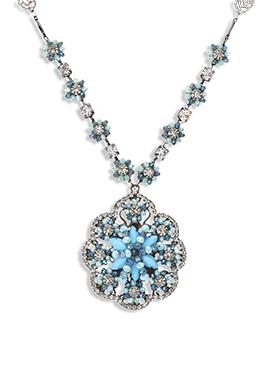 Yazuri Off White N Blue Crystals Necklace