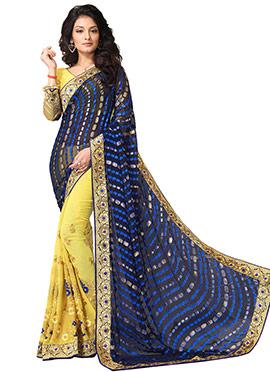 Yellow and navy blue Half N Half Saree