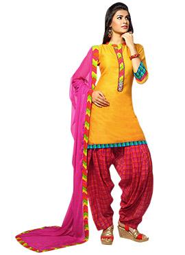 Yellow Art Silk Patiala Suit