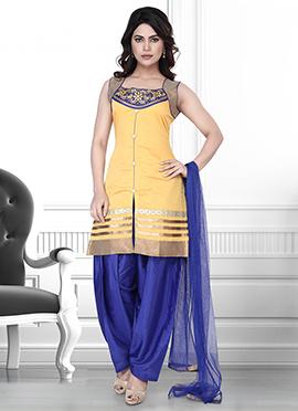 Yellow Art Silk Salwar Suit