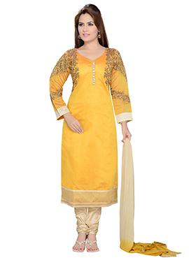 Yellow Art Silk Straight Suit