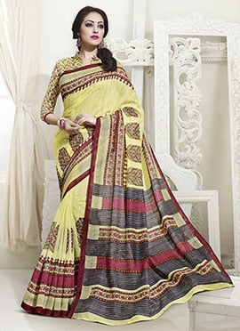 Yellow Bhagalpuri Silk Printed Saree