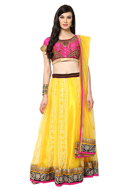 Yellow Blended Cotton Lehenga choli set From Home