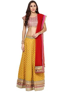 Yellow Blended Cotton Lehenga choli set From Home