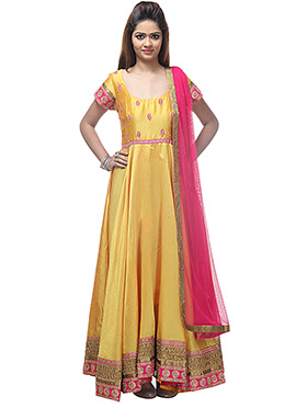 Yellow Chanderi Anarkali Suit