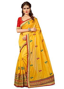 Yellow Chanderi Silk Embroidered Saree