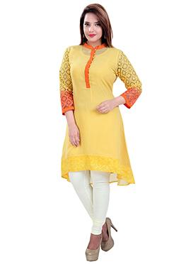 Yellow Chiffon N Chanderi Asymmetrical Kurti