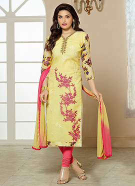 Yellow Cotton Embroidered Straight Suit