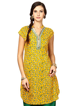 Yellow Cotton Ethnic Kurti from Home India