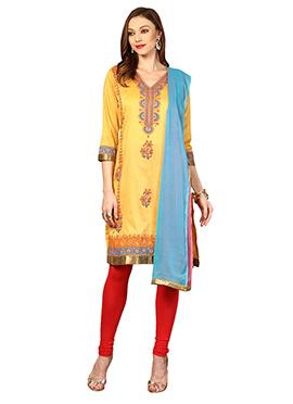 Yellow Cotton Home India Churidar Suit