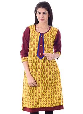 Yellow Cotton Printed Kurti