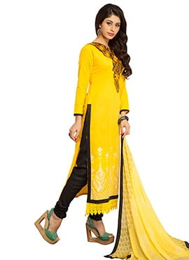 Yellow Cotton Straight Suit