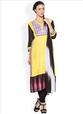 Yellow Embroidered Plus Size Churidar Suit