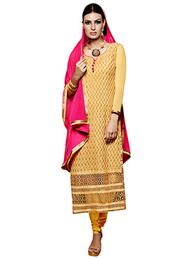 Yellow Embroidered Straight Suit