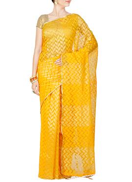 Yellow Floral Jacquard Saree
