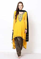 Yellow Georgette Asymmetrical Plus Size Anarkali S