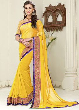 Yellow Georgette Embroidered Border Saree