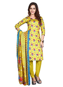 Yellow Glace Cotton Straight Pant Suit