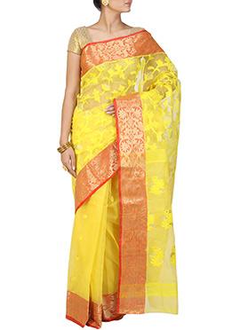 Yellow Handloom Cotton Jamdani Saree