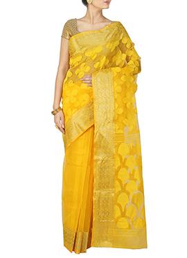 Yellow Handloom Silk Cotton Jamdani Saree