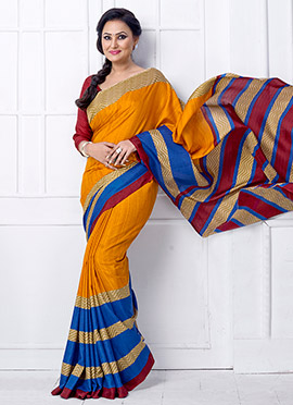 Yellow Jacquard Khadi Silk Saree