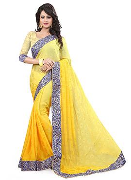 Yellow Jacquard Saree
