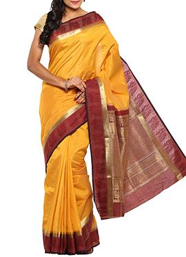 Yellow Jacquard Tussar Silk Saree