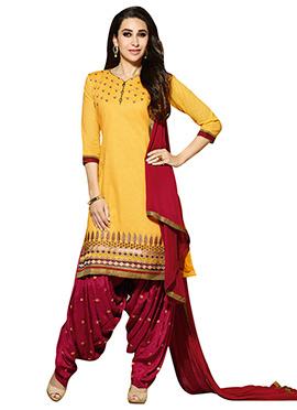 Yellow Karisma Kapoor Patiala Suit
