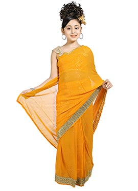 Yellow Kids Readymade Saree