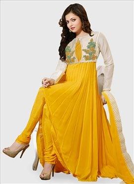 Yellow Drashti Dhami Jacket Style Kalidar Suit