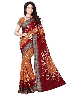 Yellow N Barn Red Bandhini Saree