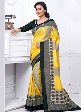 Yellow N Beige Jacquard Khadi Silk Saree