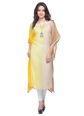 Yellow N Beige Ombre Kaftan Style Kurti