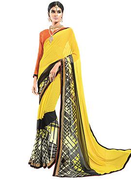 Yellow N Black Georgette Printed Saree
