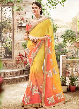 Yellow N Coral Peach Ombre Chiffon Saree